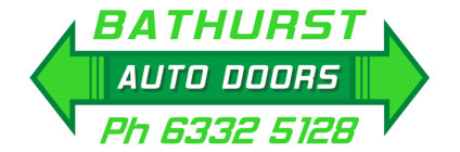 Bathurst Auto Doors logo includes name and arrows pointing in opposite directions
